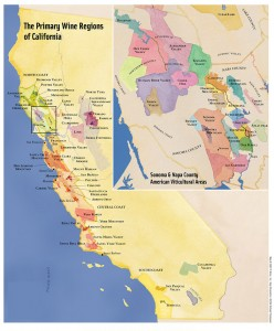 Wine map of Sonoma and Napa Valley from Apus Wine.